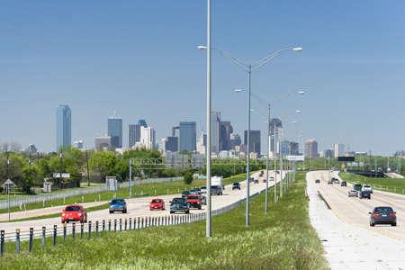 dallas: Dallas, TXUSA - circa April 2009: Downtown Dallas, Texas as seen from Interstate Highway 45 Editorial