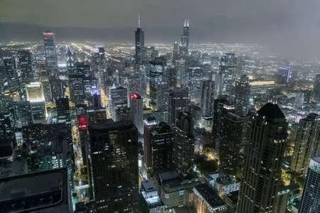 hancock: Chicago, ILUSA - circa July 2015: View of Downtown Chicago from John Hancock Center