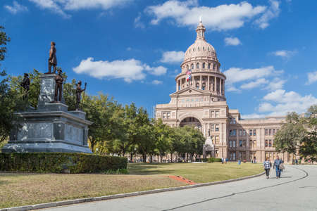 austin: Austin, TXUSA - circa February 2016: Texas State Capitol with Confederate Soldiers Monument in Austin, TX