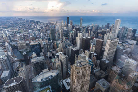 willis: Chicago, ILUSA - circa July 2015: View of Downtown Chicago from Willis Tower