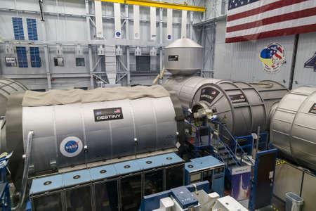 space station: Houston, TXUSA - circa July 2013: Replica of International Space Station (ISS) in Lyndon B. Johnson Space Center, Houston, Texas