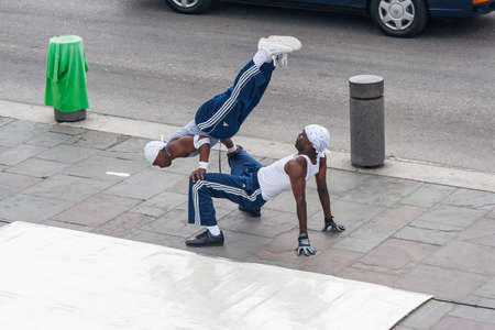 african ancestry: New Orleans, LAUSA - circa March 2009: Young male dancers perform a street dance at Jackson Square, French Quarter, New Orleans, Louisiana Editorial
