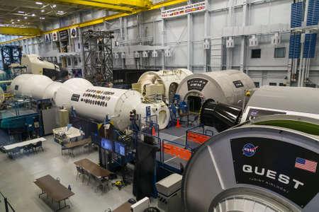 replica: Houston, TXUSA - circa July 2013: Replica of International Space Station (ISS) in Lyndon B. Johnson Space Center, Houston, Texas