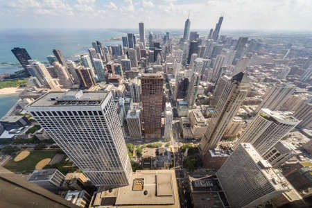 john hancock: Chicago, ILUSA - circa July 2015: View of Downtown Chicago from John Hancock Tower