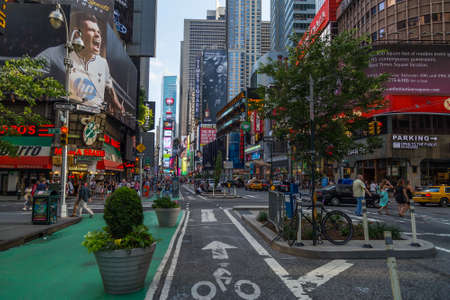 New York City, NY/USA - circa July 2013: Bicycle track on the street nearby Time Square in New York City