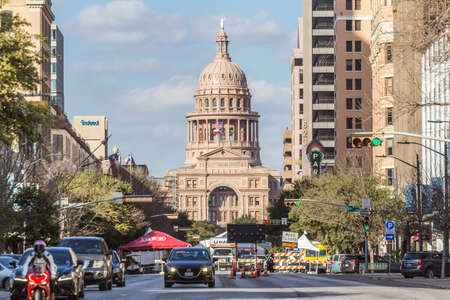 capital building: Austin, TXUSA - circa February 2016: Texas State Capitol seen from Congress Avenue in Austin, TX Editorial