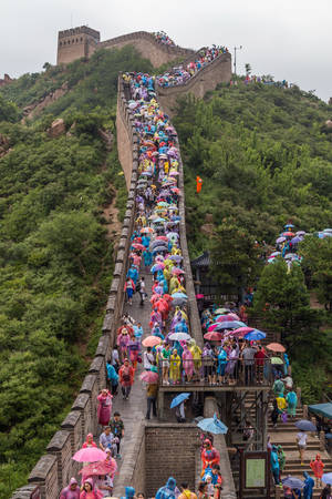 simatai: Beijing, China - circa September 2015: Tourists on Great Wall in Beijing, China