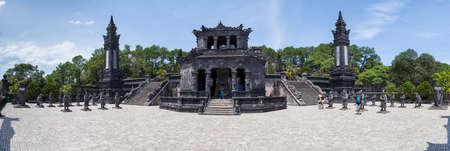 hue: Hue, Vietnam - circa August 2015: Panorama of Imperial Khai Dinh Tomb in Hue, Vietnam