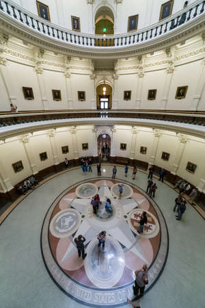 rotunda: Austin, TXUSA - circa February 2016: Mosaic showing the seals of the six nations that have governed Texas and rotunda in State Capitol in Austin, TX