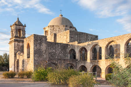 san jose: Convento and Arches of Mission San Jose in San Antonio, Texas at Sunset
