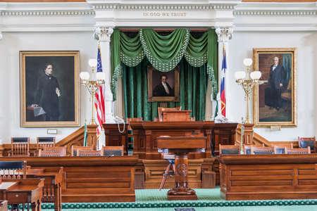 tx: Senate Chamber in Texas State Capitol in Austin, TX