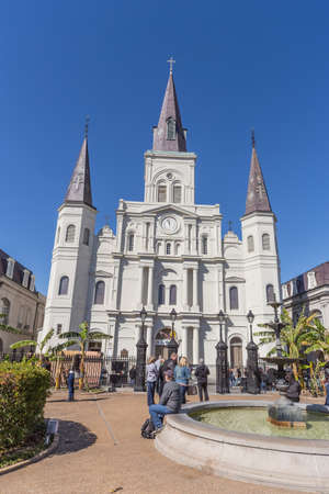 french quarter: St. Louis Cathedral and Jackson Square in French Quarter, New Orleans, Louisiana Stock Photo