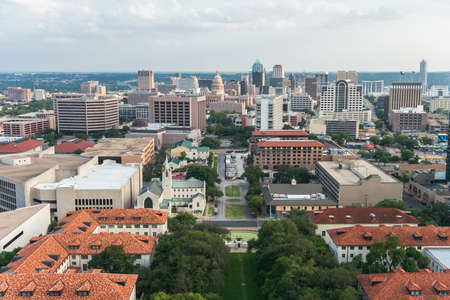 capital of colorado: Aerial Panorama of Downtown Austin and Texas State Capitol From UT Austin Main Building (Tower)