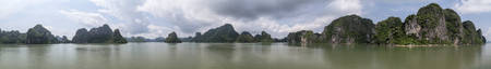 halong: Panorama of Rock formations in Halong Bay, Vietnam Stock Photo
