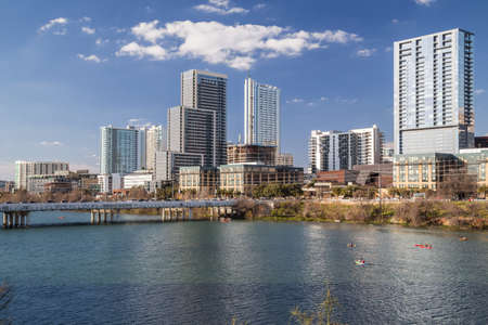 capital of colorado: Panorama of Downtown Austin and Colorado river