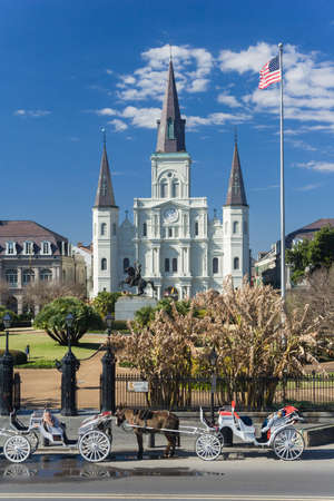 St. Louis Cathedral and Jackson Square in French Quarter, New Orleans, Louisiana 版權商用圖片