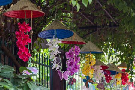 hanging flowers: Hanging flowers in Hue, Vietnam
