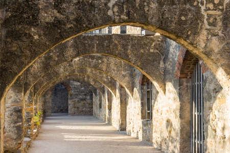 san jose: Ruins of Convento and Arches of Mission San Jose in San Antonio, Texas Stock Photo