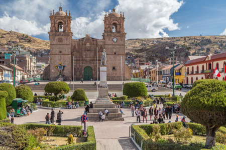 borromeo: Puno, Peru - circa June 2015: Catedral Basilica San Carlos Borromeo and Plaza de Armas in Puno, Peru