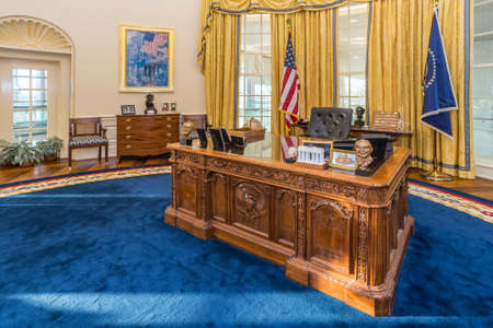 Little Rock, ARUSA - circa February 2016: Replica of White Houses Oval Office in William J. Clinton Presidential Center and Library in Little Rock, Arkansas