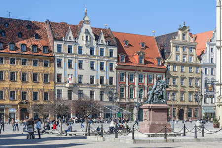 aleksander: Wroclaw, Poland - circa March 2012: Aleksander Fredr monument on central market square in Wroclaw