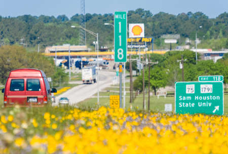 see the usa: Dallas, TXUSA - circa April 2015: Hot air and spring flowers outside Interstate Highway 45 in Texas Editorial