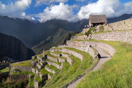 lost city: Machu Picchu, Aguas CalientesPeru - circa June 2015: View of terraces in Machu Picchu sacred lost city of Incas in Peru