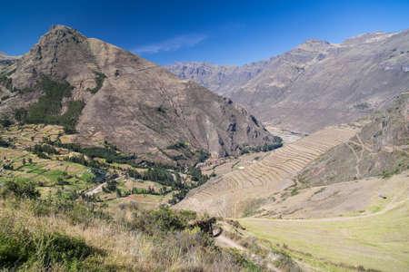 pisaq: Inca agricultural terraces in Pisaq, Peru