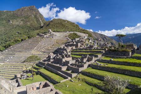 lost city: Terraces of Machu Picchu sacred lost city of Incas in Peru Stock Photo