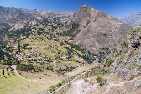 pisaq: Inca agricultural terraces in Pisaq village, Peru