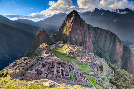the lost city of the incas: Panorama view of Machu Picchu sacred lost city of Incas in Peru Stock Photo