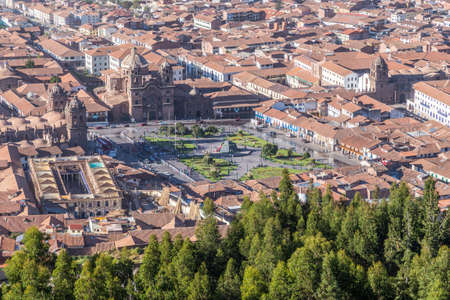 plaza de armas: Aerial View of Plaza de Armas, Cusco, and Andes Mountains in Peru by day