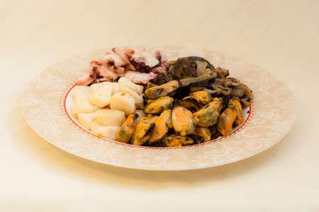 far eastern: Octopus, Cucumaria, Scallop, Mussel - seafood in Russian Far Eastern Cuisine Stock Photo