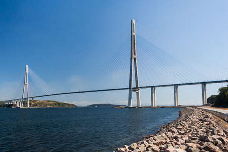 russkiy: Suspension Russkiy Bridge seen from Russkiy island in Vladivostok, Russia