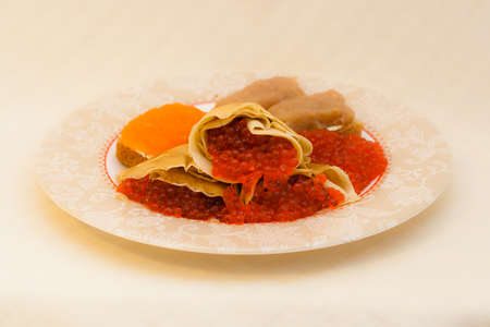 far eastern: Different types of caviar with pancakes - seafood in Russian Far Eastern Cuisine Stock Photo