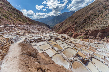 evaporation: Salt evaporation ponds and mines built by Incas in Maras, Peru Stock Photo