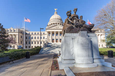 jackson: Mississippi State Capitol and Our Mothers Monument in Jackson, Mississippi