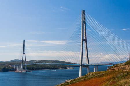 russkiy: Suspension Russkiy Bridge in Vladivostok, Russia