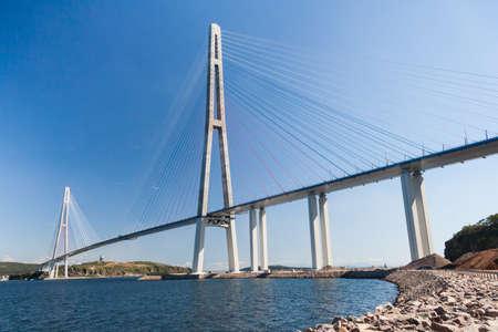 russkiy: Suspension Russkiy Bridge seen from Russkiy island in Vladivostok, Russia
