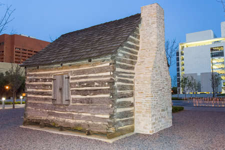 pioneer: John Neely Bryan Cabin at Pioneer Plaza in Dallas, Texas