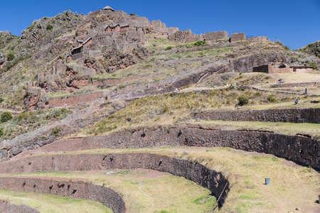 pisaq: Inca agricultural terraces and village ruins in Pisaq, Peru Stock Photo