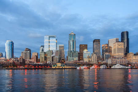 puget: Panoramic view of Seattle Downtown from Puget Sound Stock Photo