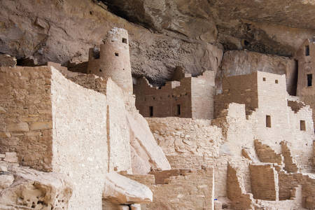 Cliff Palace, ancient puebloan village of houses and dwellings in Mesa Verde National Park, New Mexico, USA Stock Photo