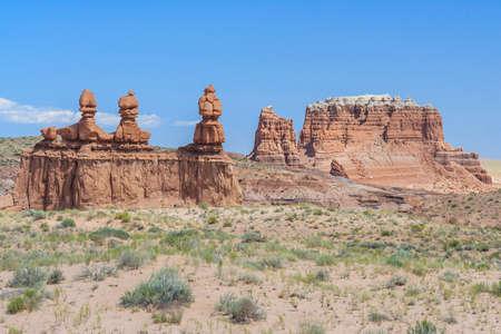 hoodoo: Hoodoo Rock pinnacles in Goblin Valley State Park, Utah, USA Stock Photo