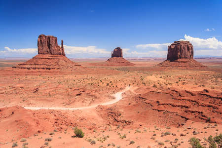 monument valley view: View of Monument Valley in Navajo Nation Reservation between Utah and Arizona