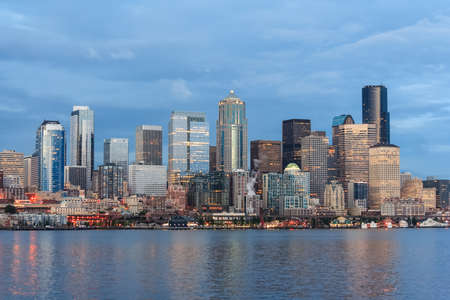 puget sound: Panoramic view of Seattle Downtown and Space Needle from Puget Sound Stock Photo