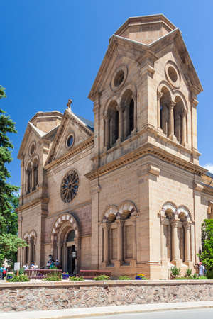 Cathedral Basilica of Saint Francis of Assisi, also known as Saint Francis Cathedral in downtown Santa Fe, New Mexico
