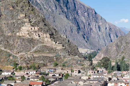 Fortifications and ruins in Ollantaytambo, Peru