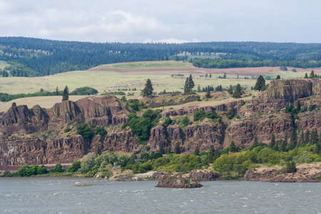 Cliffs at Columbia River Gorge, Pacific Northwest, between Oregon and Washington