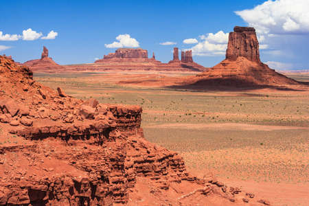 View of Monument Valley in Navajo Nation Reservation between Utah and Arizona